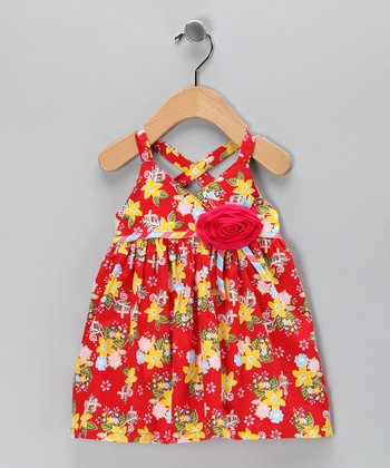 Orange Floral Rosette Dress - Infant & Toddler