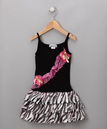 Black & White Zebra Drop-Waist Dress - Toddler & Girls