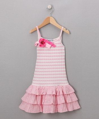 Pink & White Drop-Waist Dress - Girls