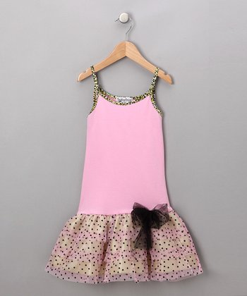 Pink & Green Drop-Waist Dress - Girls