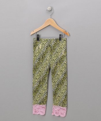 Green & Pink Cheetah Leggings - Girls