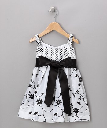 Black & White Floral Dress - Toddler & Girls