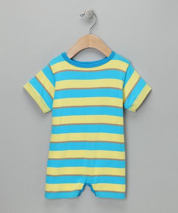 Blue & Yellow Tomte Stripe Romper - Infant