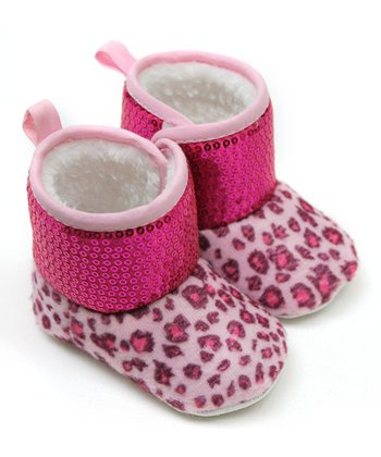 Hot Pink Leopard Sequin Boot