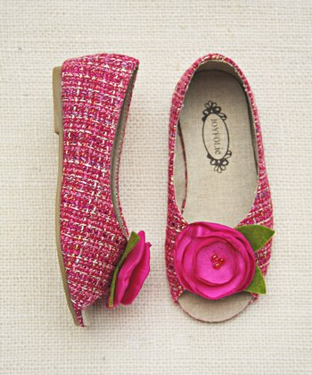 Magenta Charlotte Tweed Peep-Toe Flat - Girls