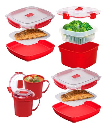 Red Microwave Container Set