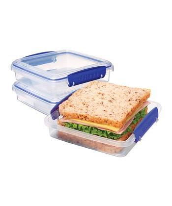 Clear & Blue KLIP IT Sandwich Box - Set of Three