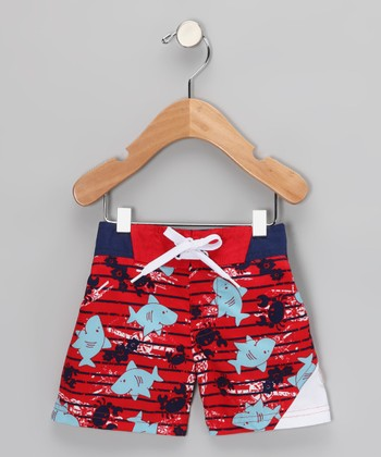 Red Shark Sun Alert Swim Trunks - Infant, Toddler & Boys