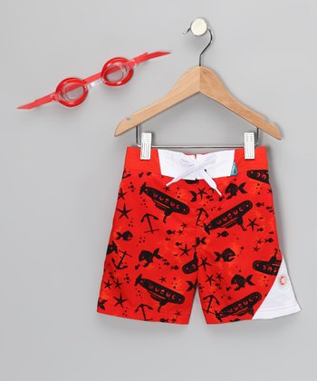 Red Sub Sun Alert Swim Trunks & Goggles - Boys