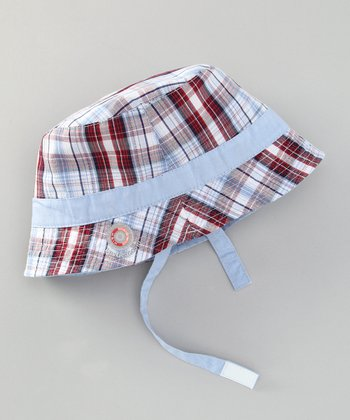 Blue Plaid Sun Alert Reversible Sunhat