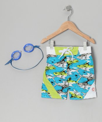 Blue Shark Sun Alert Swim Trunks & Goggles - Toddler & Boys