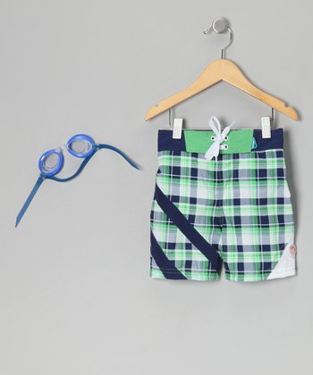 Green Plaid Sun Alert Swim Trunks & Goggles - Toddler & Boys