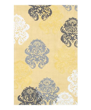 The Rug Market Yellow Brocade Rug