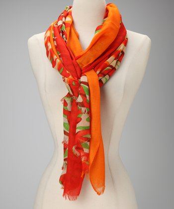 Orange & Green Abstract Scarf