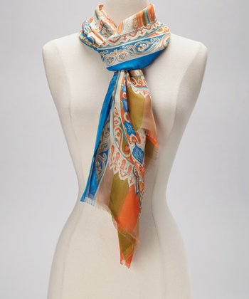Orange & Blue Paisley Silk Scarf