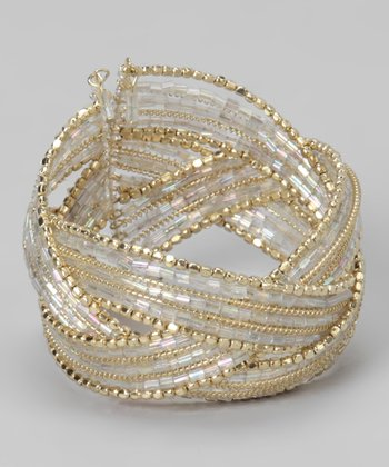 Clear & Gold Crisscross Cuff