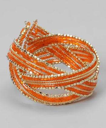 Orange & Gold Crisscross Cuff