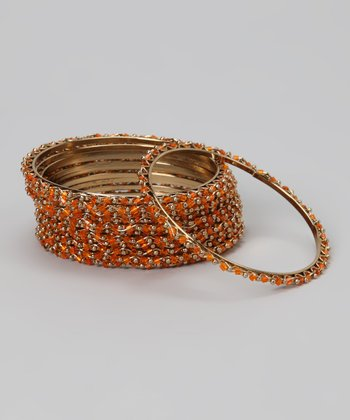 Orange & Gold Wave Bangle Set