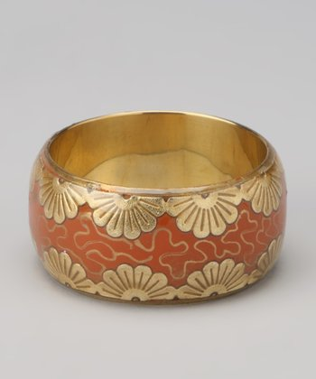 Coral & Gold Foil Flower Bangle