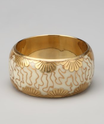Ivory & Gold Foil Flower Bangle