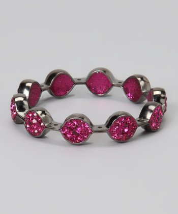 Onyx & Fuchsia Crystal Marquis Bangle