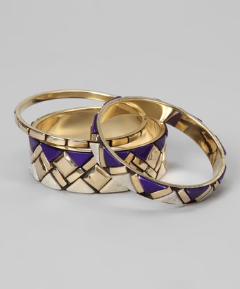 Blue & Gold Geometric Bangle Set