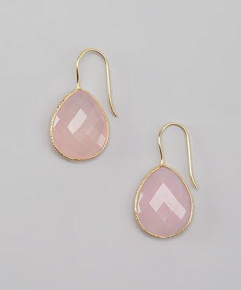 Rose Quartz & Gold Teardrop Earrings