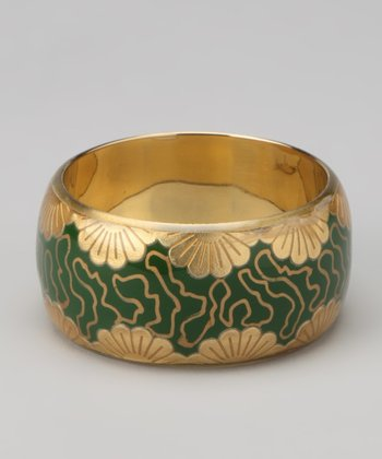 Green & Gold Foil Flower Bangle