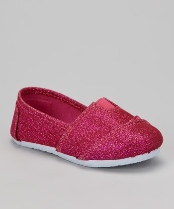 Fuchsia Glitter Slip-On Shoe