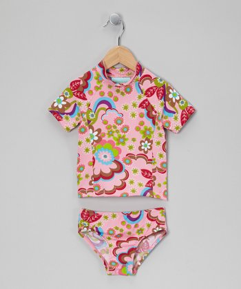 Light Pink Floral Rashguard Set - Toddler