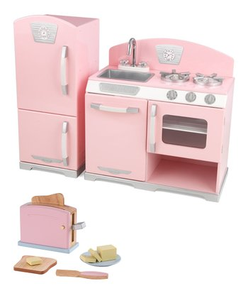 Pink Retro Kitchen & Pastel Toaster Set