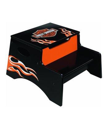 Black Harley-Davidson® Flame Step 'n' Store Stool