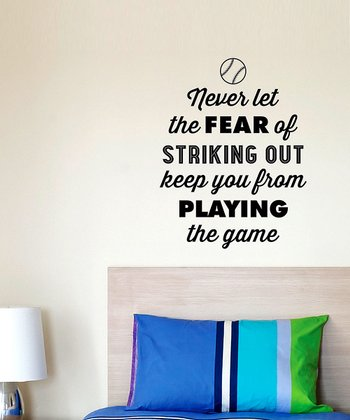 Black 'The Fear of Striking Out' Wall Quotes Decal