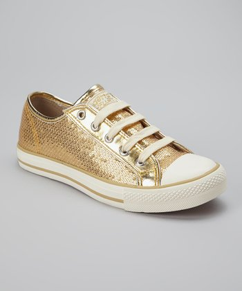 Gold Sequin Ca-Disco Sneaker - Women