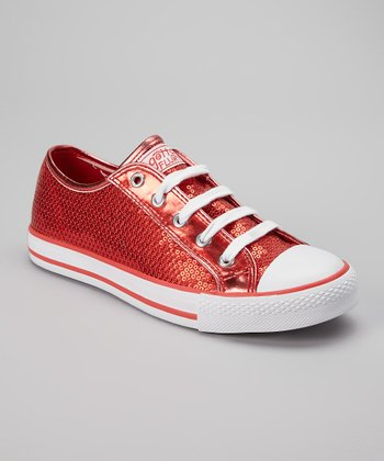 Red Sequin Ca-Disco Sneaker - Women