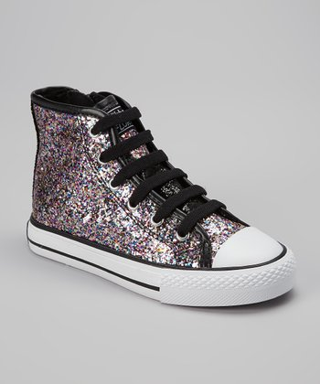Black Glitter Mystique Hi-Top Sneaker - Kids