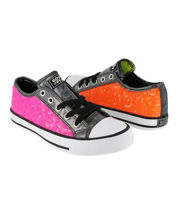 Pink & Orange Twist Me Jiggy G Sneaker - Kids