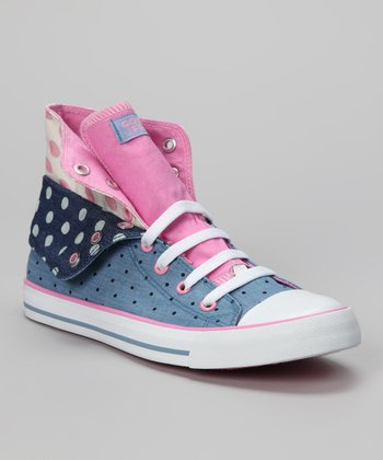 Pink & Blue Twist Me Convertible Polka Dot Hi-Top Sneaker - Kids