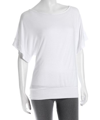 White Boatneck Dolman Top
