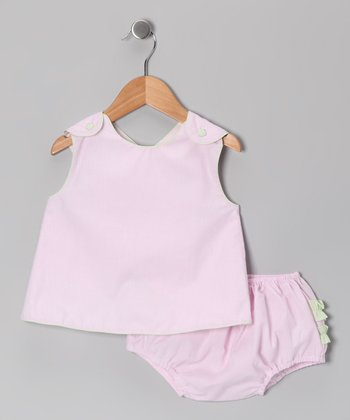 Pink Gingham Cross-Back Top & Diaper Cover - Infant