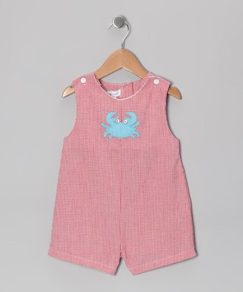 Red Crab Gingham Shortalls - Infant