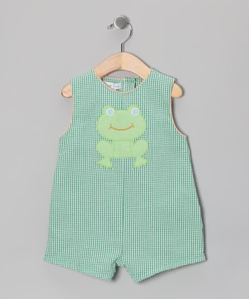 Green Frog Gingham Seersucker Shortalls - Infant