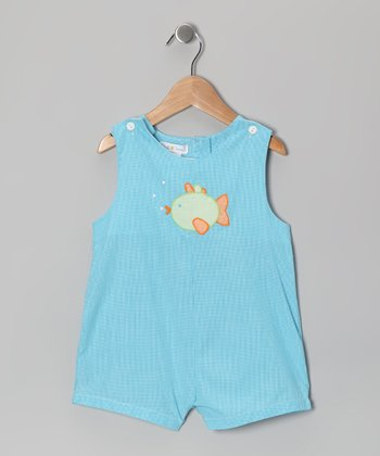 Turquoise Fish Shortalls - Infant