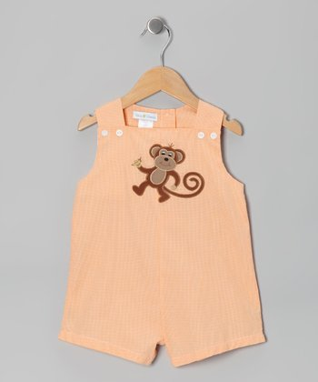 Orange Monkey Shortalls - Infant