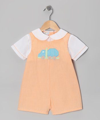 Orange Car Layered Romper - Infant