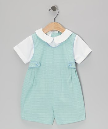 Green Gingham Layered Romper - Infant