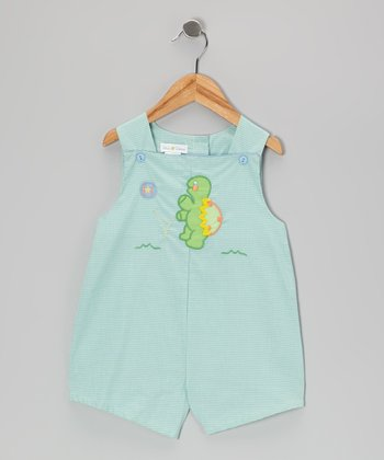 Turquoise Gingham Turtle Shortalls - Infant