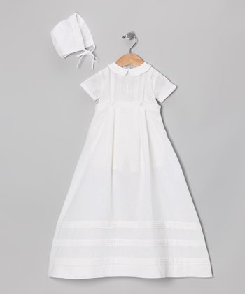 White Pin Tuck Christening Gown & Bonnet - Infant