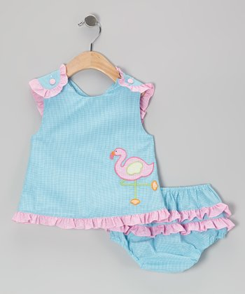 Turquoise Gingham Flamingo Ruffle Top & Diaper Cover - Infant