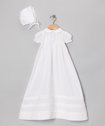 White Puff-Sleeve Pin Tuck Christening Gown & Bonnet - Infant